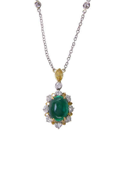 Oscar Heyman - Platinum Emerald Diamond Pendant