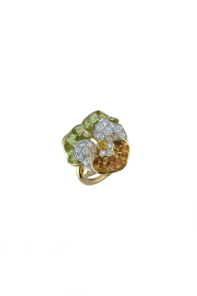 Oscar Heyman - Gold Platinum Citrine Peridot Diamond Paisley Ring
