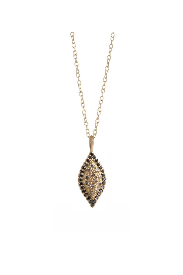 Gold Black & Cognac Diamond Scallop Necklace