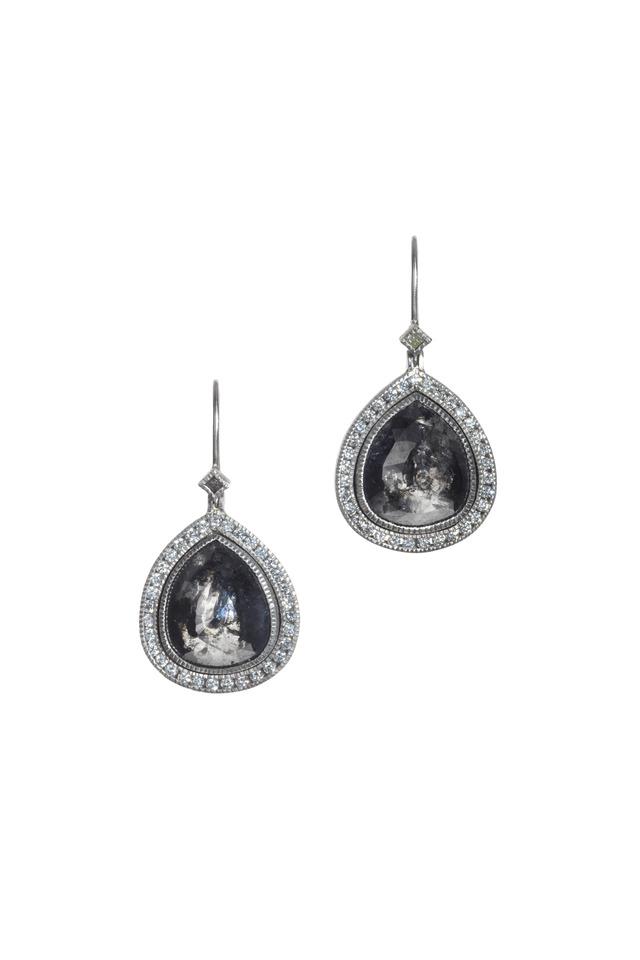 Palladium Black & White Diamond Dangle Earrings