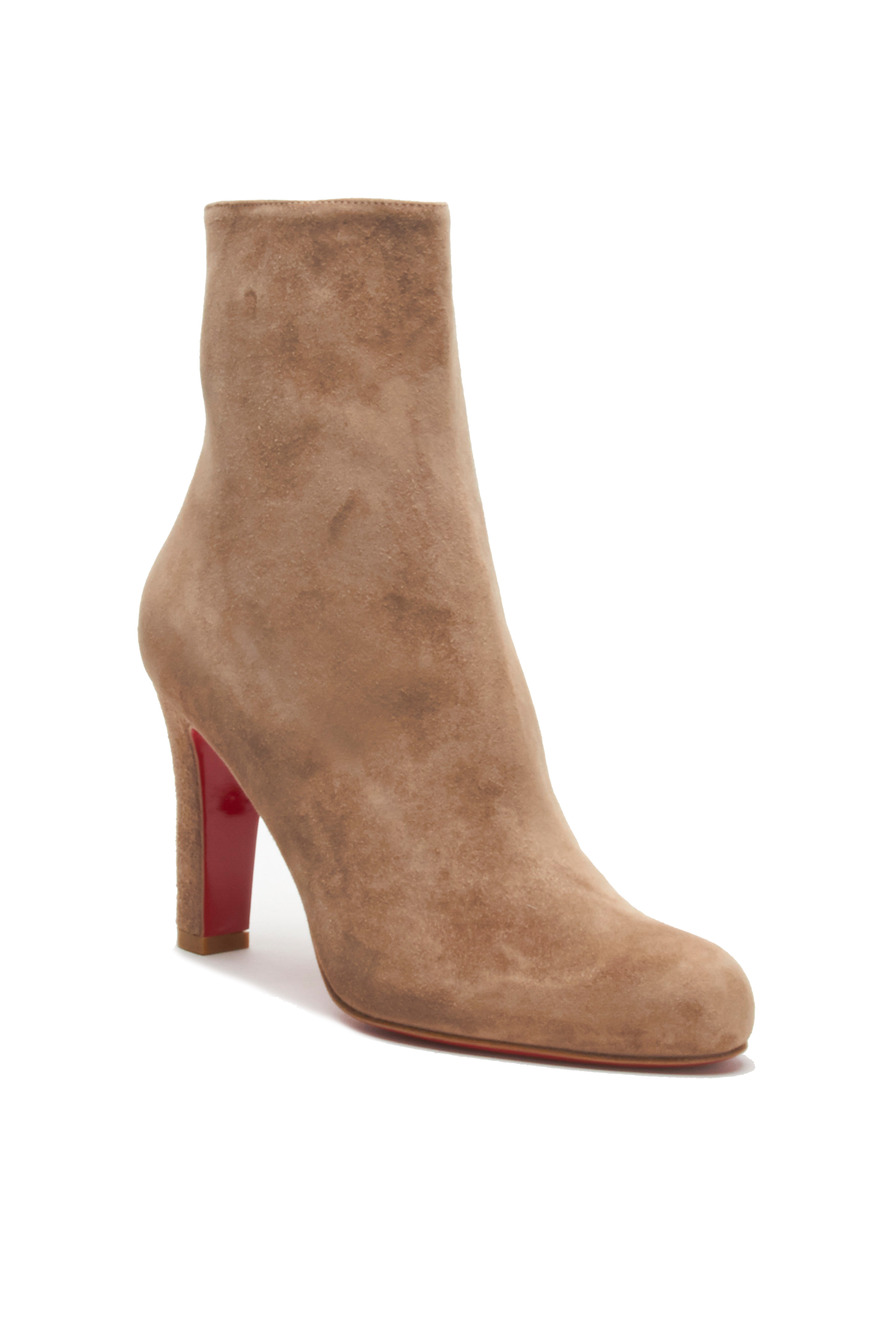 Miss Tack Beige Suede Ankle Boot, 85mm