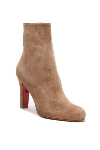 Christian Louboutin - Miss Tack Beige Suede Ankle Boot, 85mm