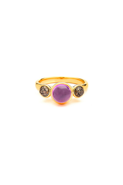 Syna - Gold Amethyst & Cognac Diamond Baubles Ring
