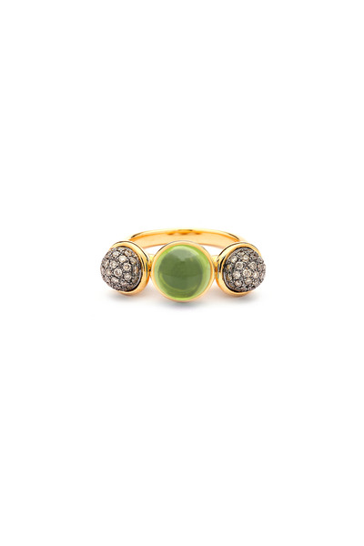 Syna - Yellow Gold Large Peridot & Diamond Baubles Ring