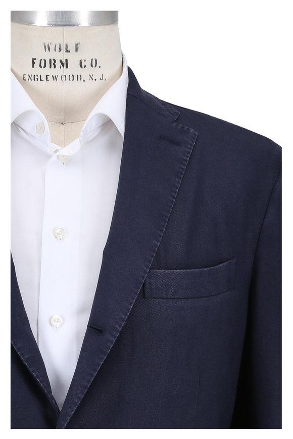 Boglioli Navy Blue Wool Hopsack Sportcoat