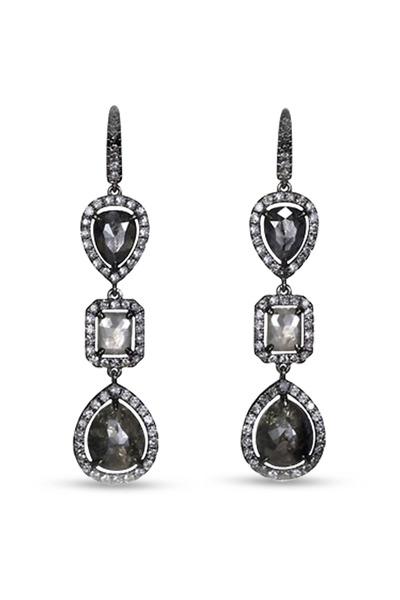 Kathleen Dughi - 18K Black Gold Diamond Drop Earrings