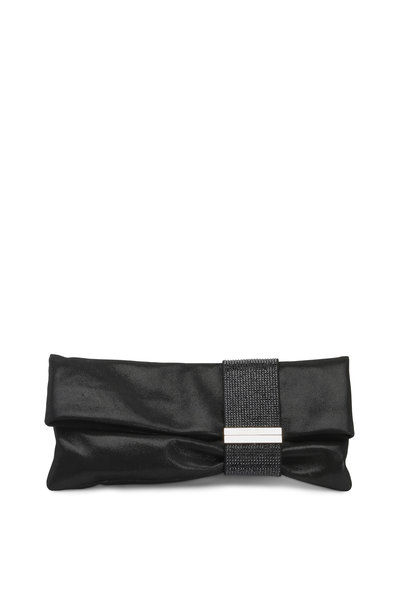 Jimmy Choo - Chandra Black Shimmer Suede Crystal Clutch