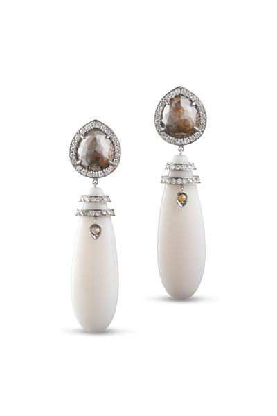 Kathleen Dughi - Platinum Multicolor Diamond Coral Drop Earrings