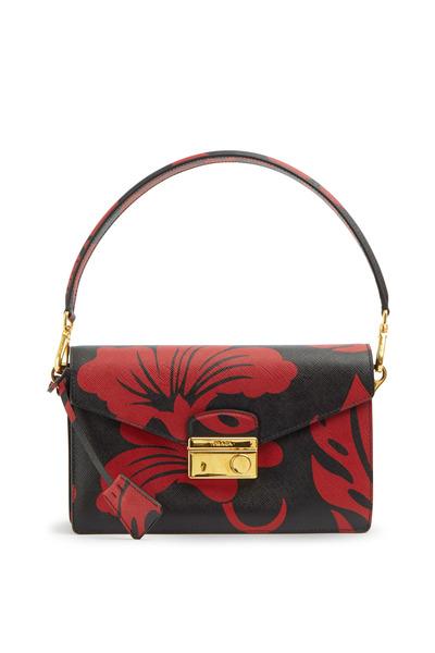 Prada - Black & Red Hibiscus Print Saffinao Sport Handbag