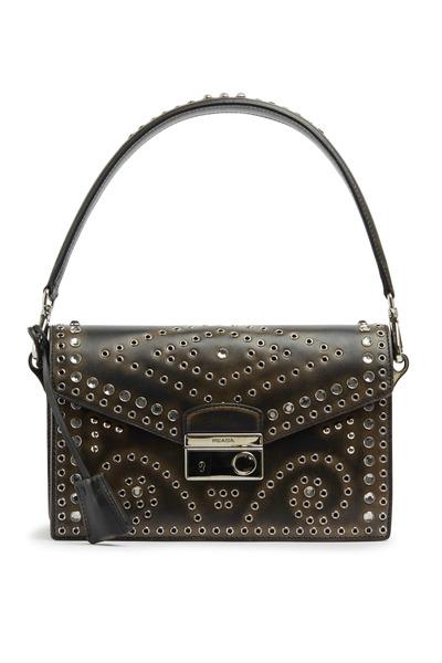 Prada - Black Leather Grommet Small Shoulder Handbag