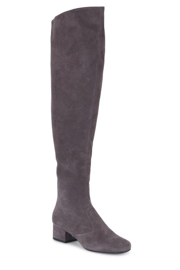 Saint Laurent Babies Gray Suede Over-The-Knee Boot, 40mm