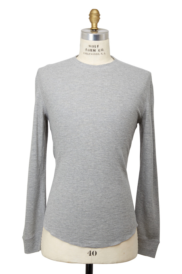 Gray Waffled Cotton T-Shirt