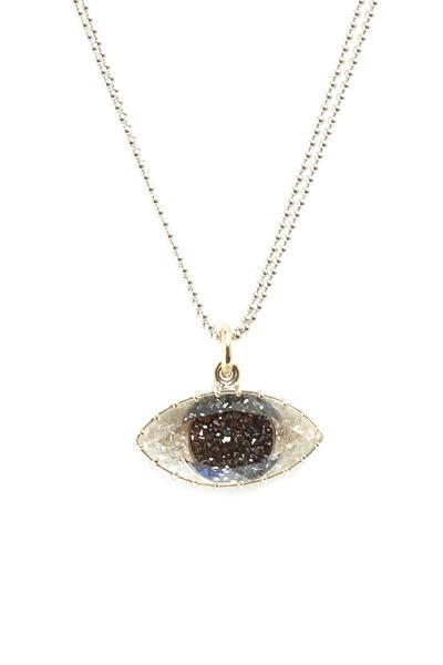 Renee Lewis - Gold Black & White Diamond Third Eye Necklace