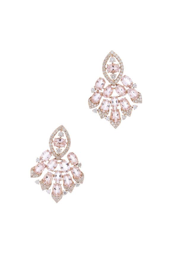 Sutra 18K Rose Gold Morganite & Diamond Drop Earrings