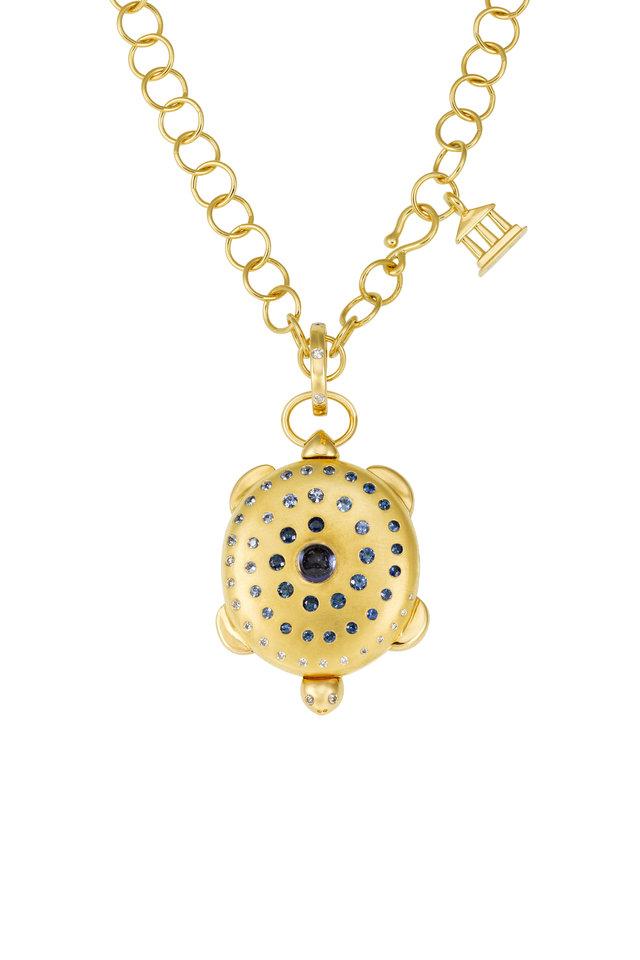 18K Yellow Gold Sapphire & Diamond Turtle Locket