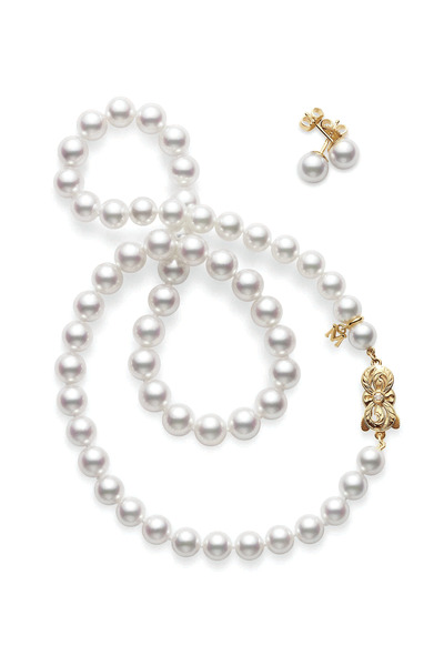 Mikimoto - Special Edition Gold Akoya Pearl Stud & Necklace