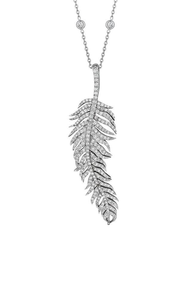 White Gold Large Diamond Feather Pendant
