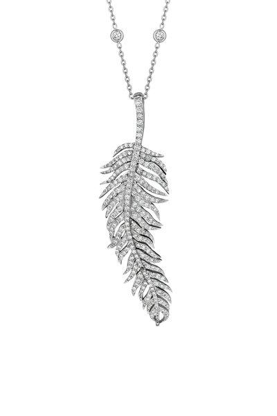 Penny Preville - White Gold Large Diamond Feather Pendant