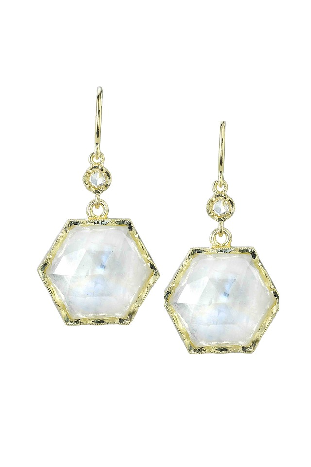 Gold Hexagon Rainbow Moonstone Diamond Earrings