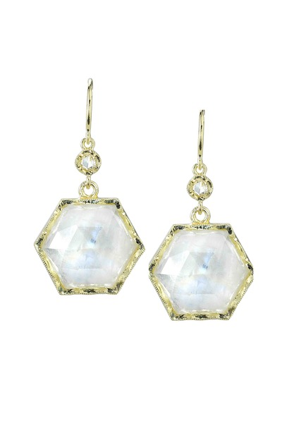 Irene Neuwirth - Gold Hexagon Rainbow Moonstone Diamond Earrings