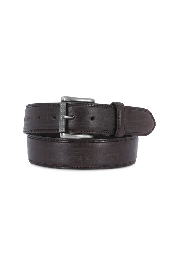 Aquarius The Lapo Brown Vintage Scarred Leather Belt