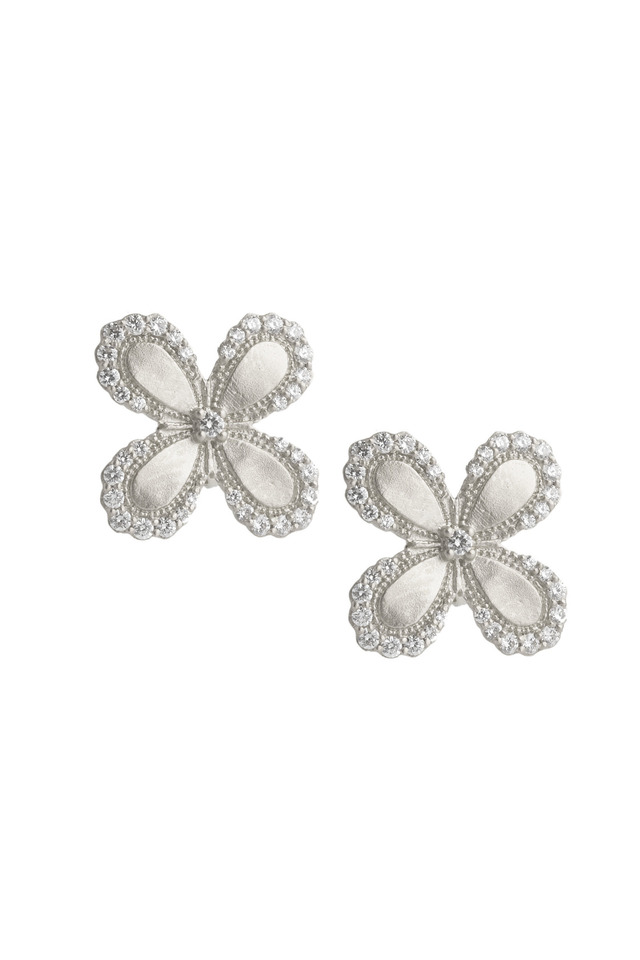 White Gold White Diamond Flower Stud Earrings