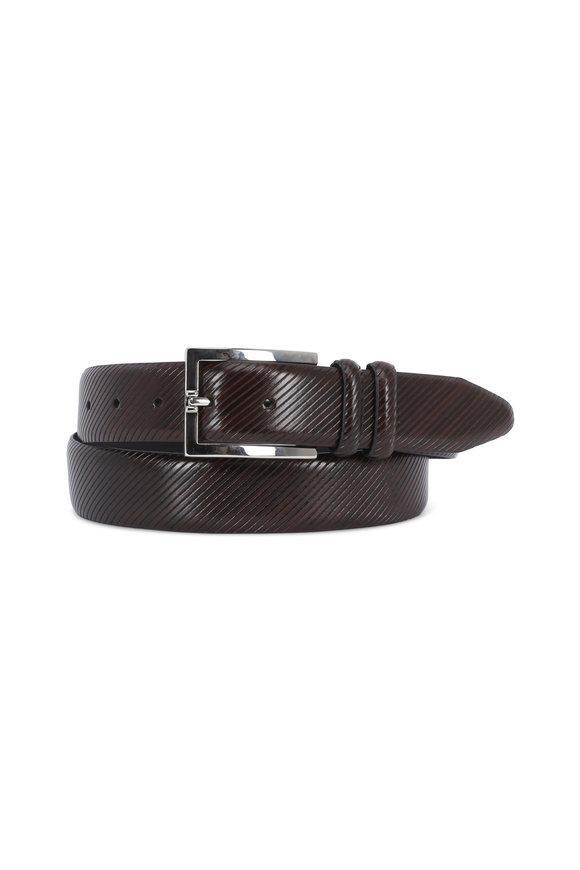 Aquarius The Tiziano Brown Diagonal Striped Leather Belt