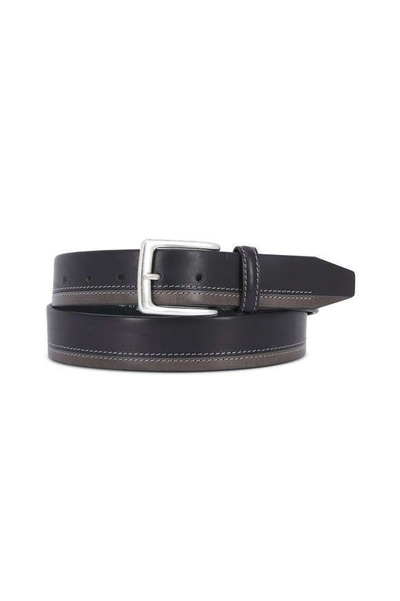 Aquarius The Pierce Black & Gray Two-Tone Leather Belt