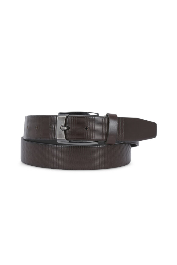Aquarius The Ansel Charcoal Embossed Leather Belt