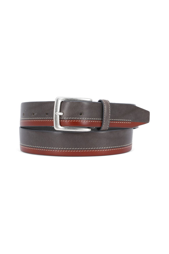 Aquarius The Pierce Olive & Brown Two-Tone Leather Belt