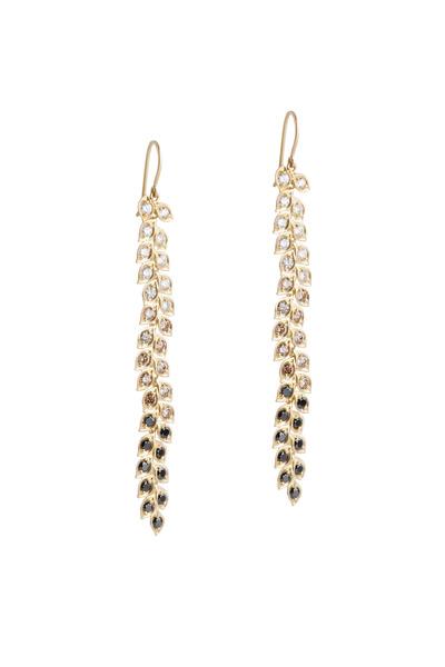 Jamie Wolf - Black, White & Cognac Diamond Long Vine Earrings
