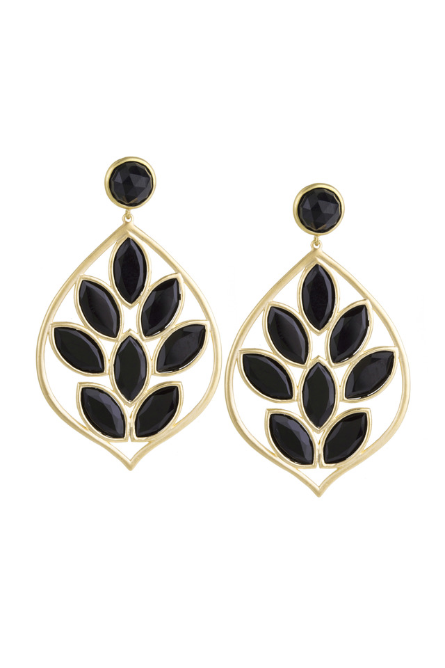 Yellow Gold Black Onyx Acorn Earrings