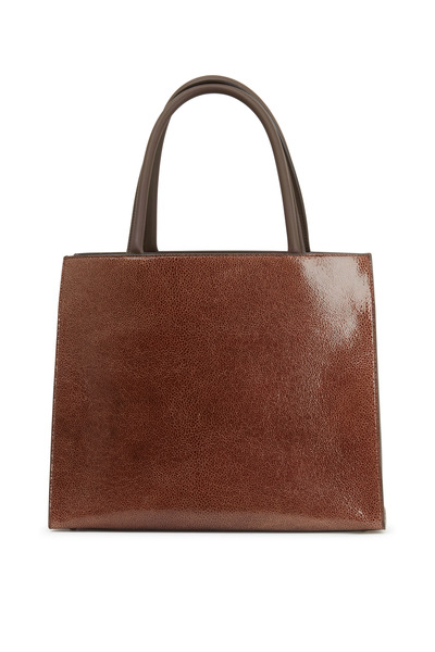 Brunello Cucinelli - Chocolate Cracked Leather Square Shopper Tote