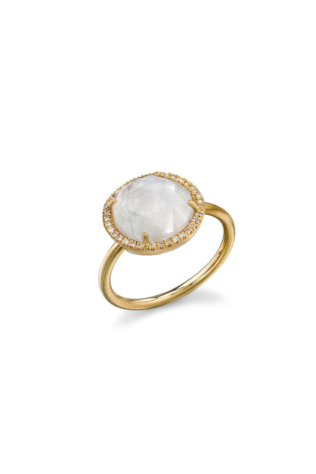 18K Yellow Gold Rainbow Moonstone & Diamond Ring