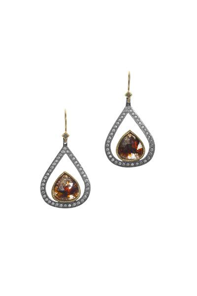 Todd Reed - Yellow Gold Fancy & White Diamond Earrings