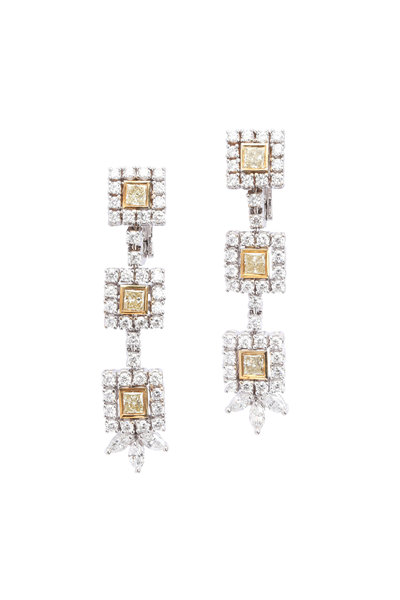 Louis Newman - 18K Gold Yellow Diamond Drop Earrings