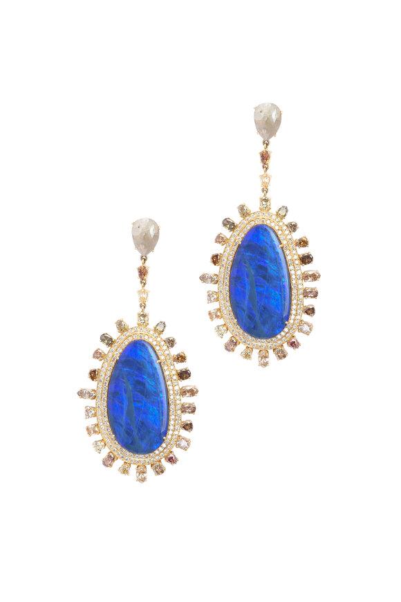 Loren Jewels 18K Yellow Gold Diamond & Opal Drop Earrings