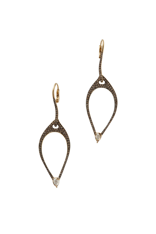 18K Yellow Gold Cognac Diamond Drop Earrings