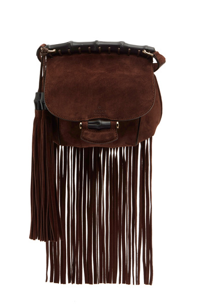 Gucci - Nouveau Fringe Brown Suede Small Crossbody Bag
