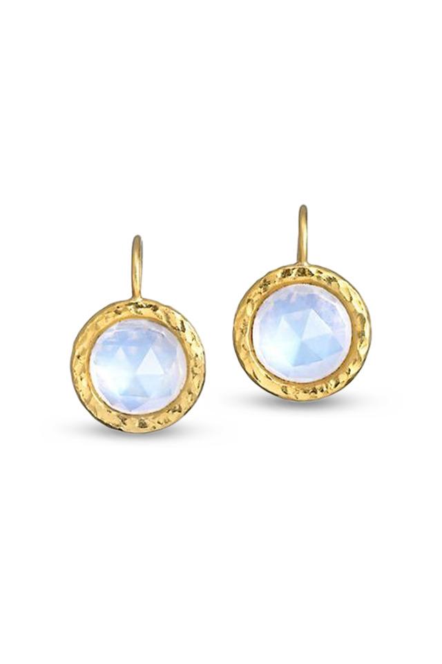 Yellow Gold Moonstone Earrings