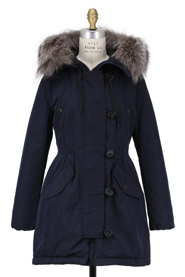 Aredhel Navy Blue Utility Coat With Fox Fur Hood