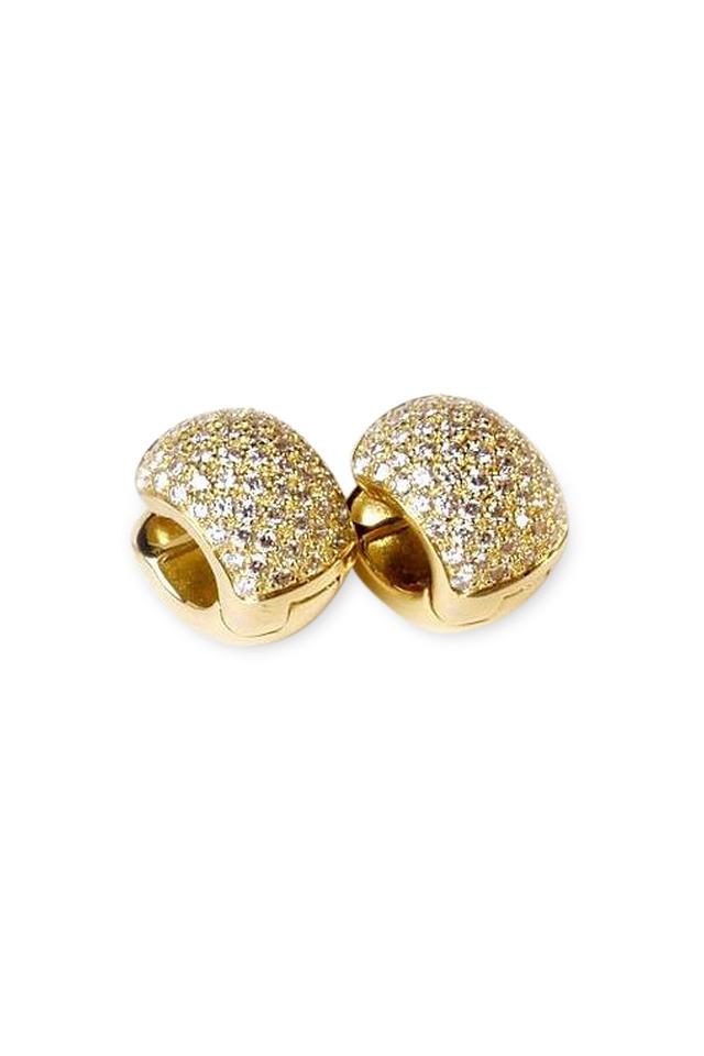 18K Yellow Gold Diamond Dolce Huggie Earrings