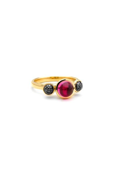 Syna - Yellow Gold Rubellite & Black Diamond Ring