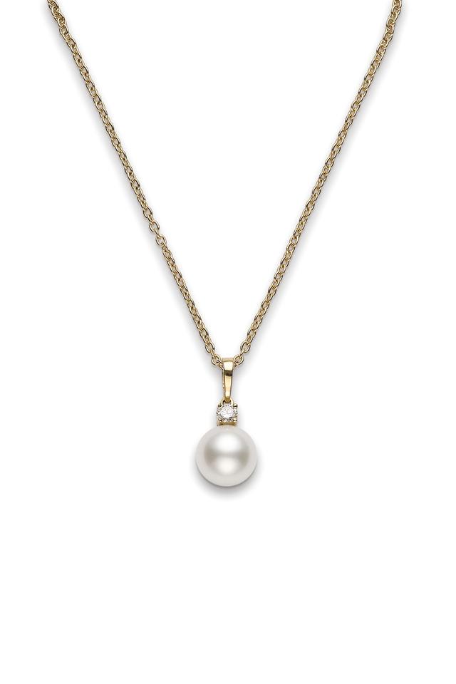18K Yellow Gold Pearl & Diamond Pendant Necklace