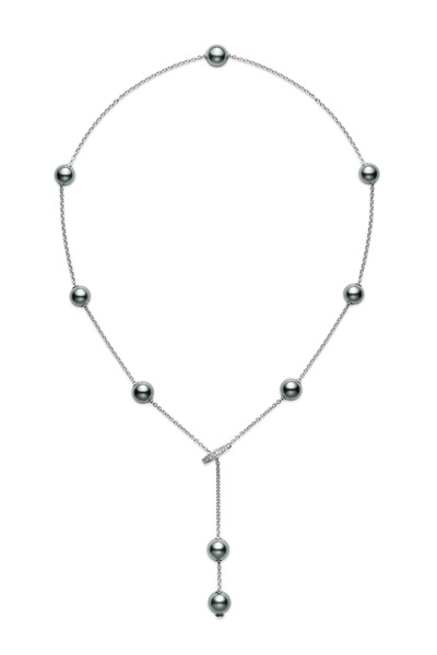 Mikimoto - Black South Sea Pearl Diamond Chain Necklace
