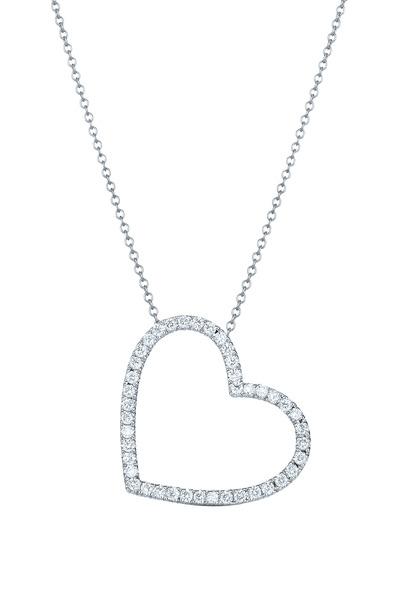 Kwiat - 18K White Gold Diamond Heart Pendant Necklace