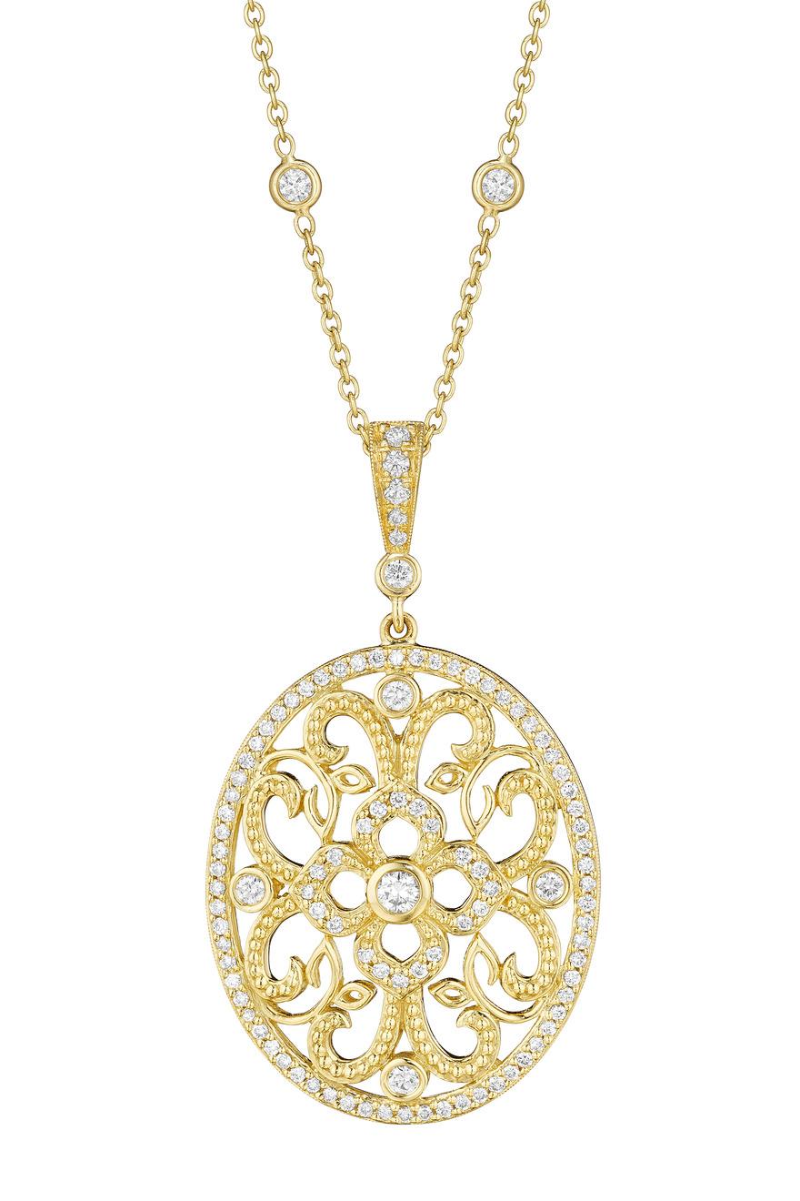 Yellow Gold Curly Lace Diamond Pendant