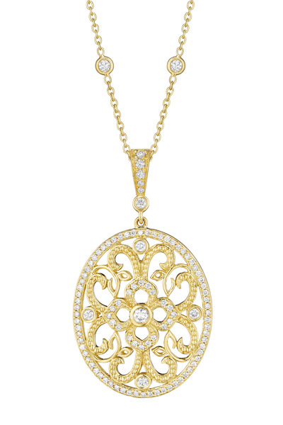 Penny Preville - Yellow Gold Curly Lace Diamond Pendant