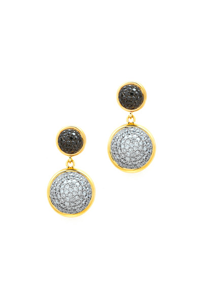 Syna - Yellow Gold Bauble Black & White Diamond Earrings