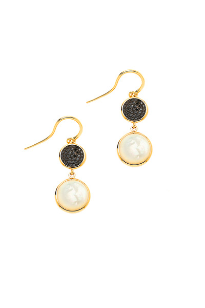Syna - Gold Mother Of Pearl Black Diamond Chakra Earrings